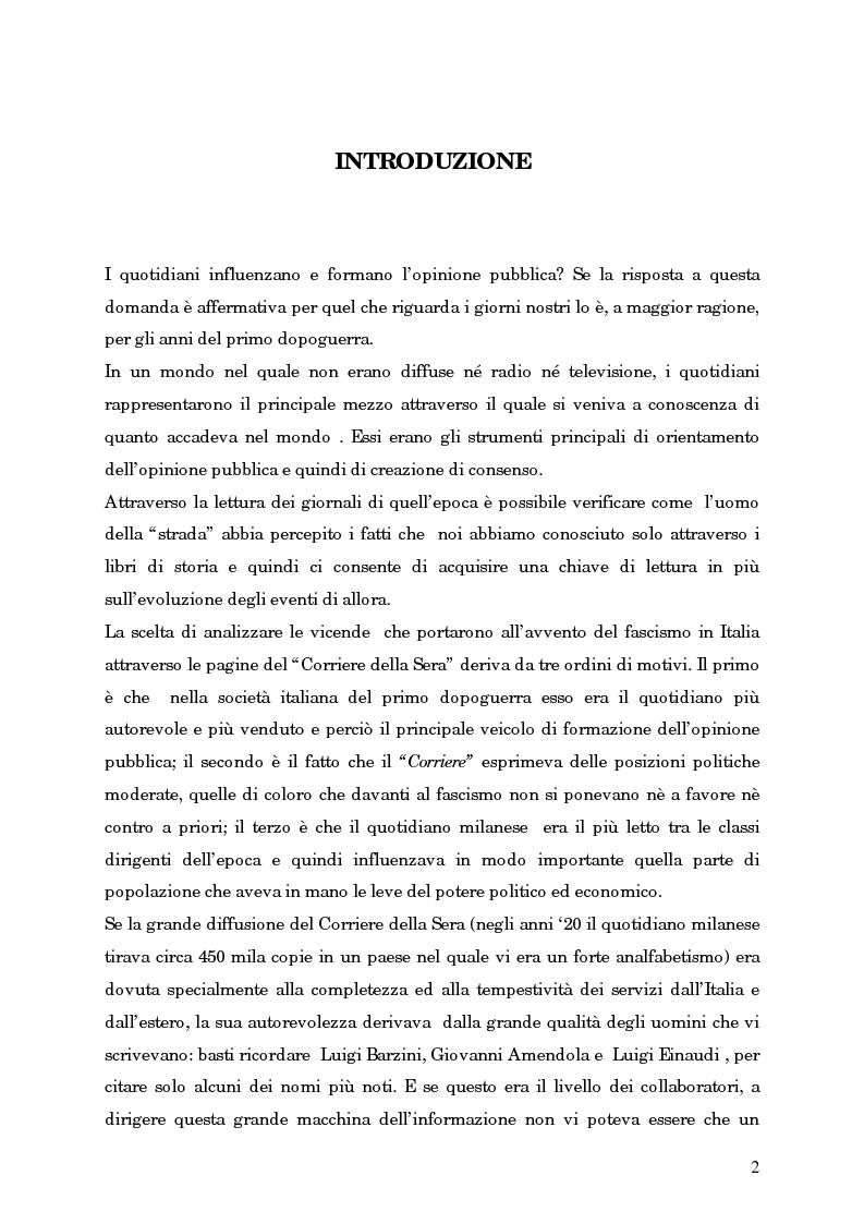 Anteprima della tesi: L'avvento del fascismo attraverso le pagine del ''Corriere della Sera'' (1919-1925), Pagina 1