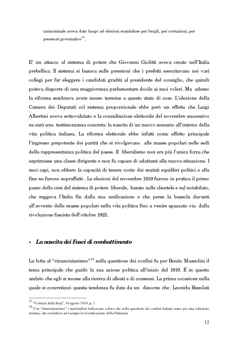 Anteprima della tesi: L'avvento del fascismo attraverso le pagine del ''Corriere della Sera'' (1919-1925), Pagina 11
