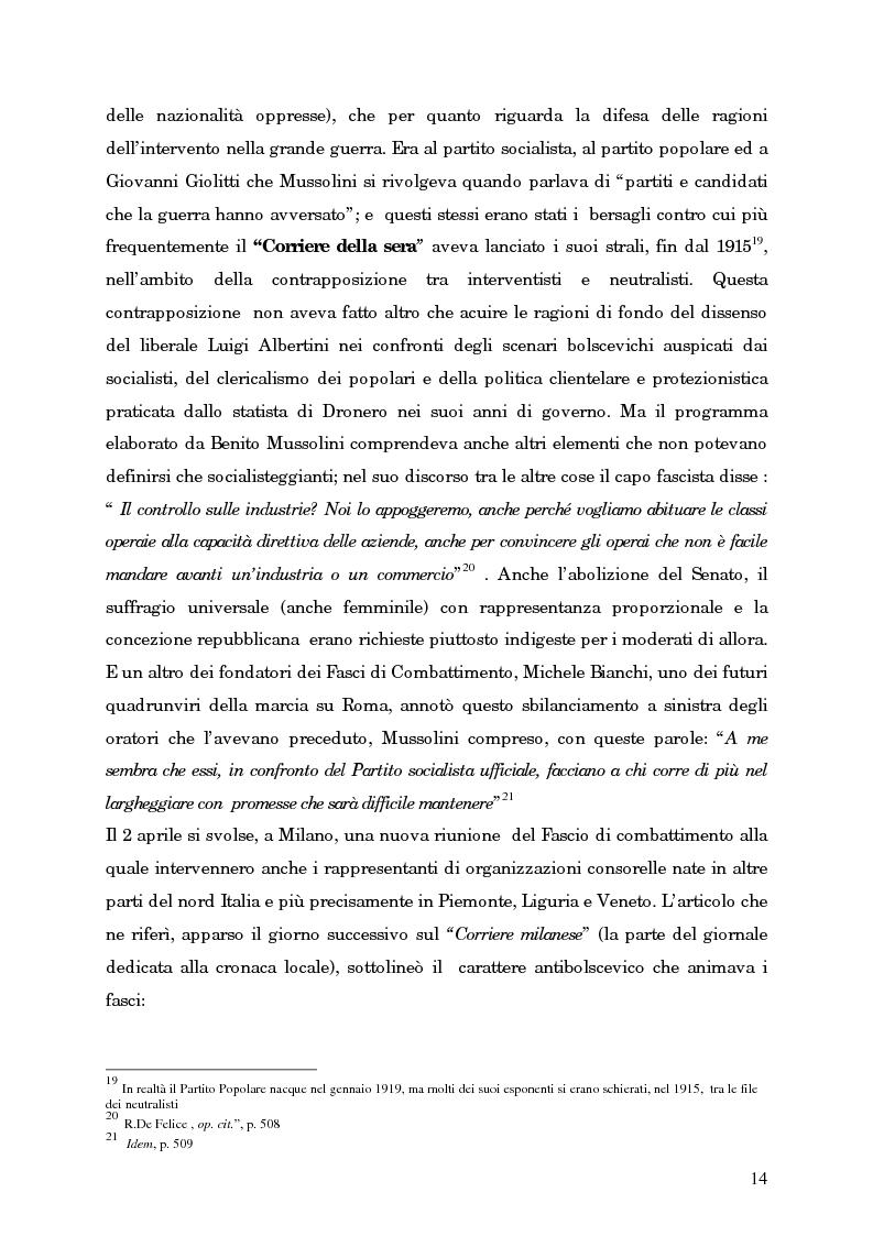 Anteprima della tesi: L'avvento del fascismo attraverso le pagine del ''Corriere della Sera'' (1919-1925), Pagina 13