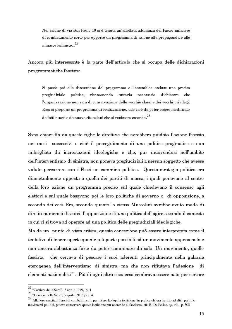 Anteprima della tesi: L'avvento del fascismo attraverso le pagine del ''Corriere della Sera'' (1919-1925), Pagina 14