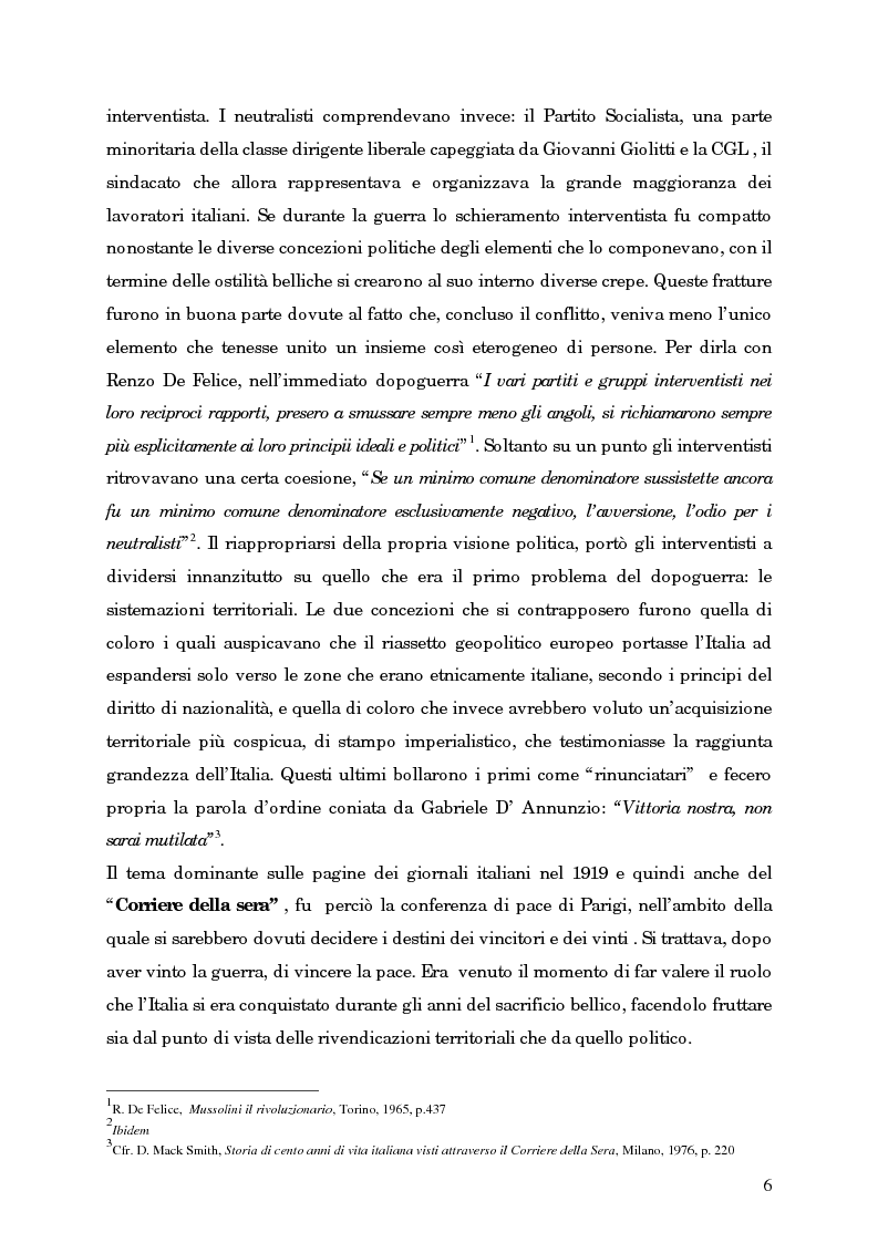 Anteprima della tesi: L'avvento del fascismo attraverso le pagine del ''Corriere della Sera'' (1919-1925), Pagina 5