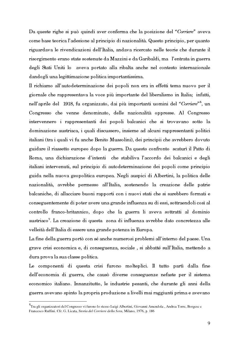 Anteprima della tesi: L'avvento del fascismo attraverso le pagine del ''Corriere della Sera'' (1919-1925), Pagina 8