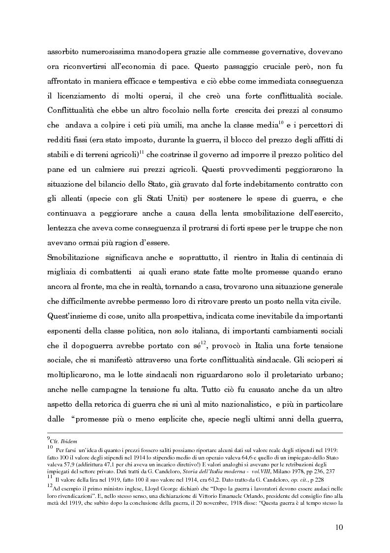 Anteprima della tesi: L'avvento del fascismo attraverso le pagine del ''Corriere della Sera'' (1919-1925), Pagina 9
