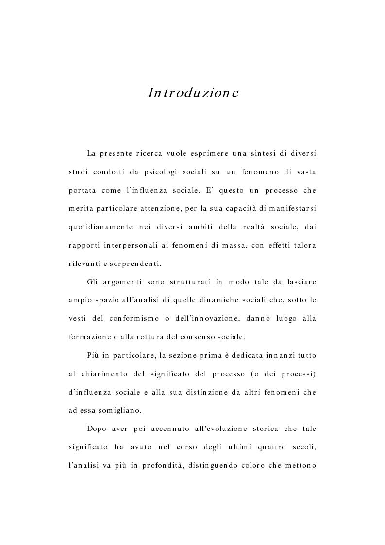 Anteprima della tesi: L'influenza sociale: conformismo, autorità e rottura del consenso, Pagina 1