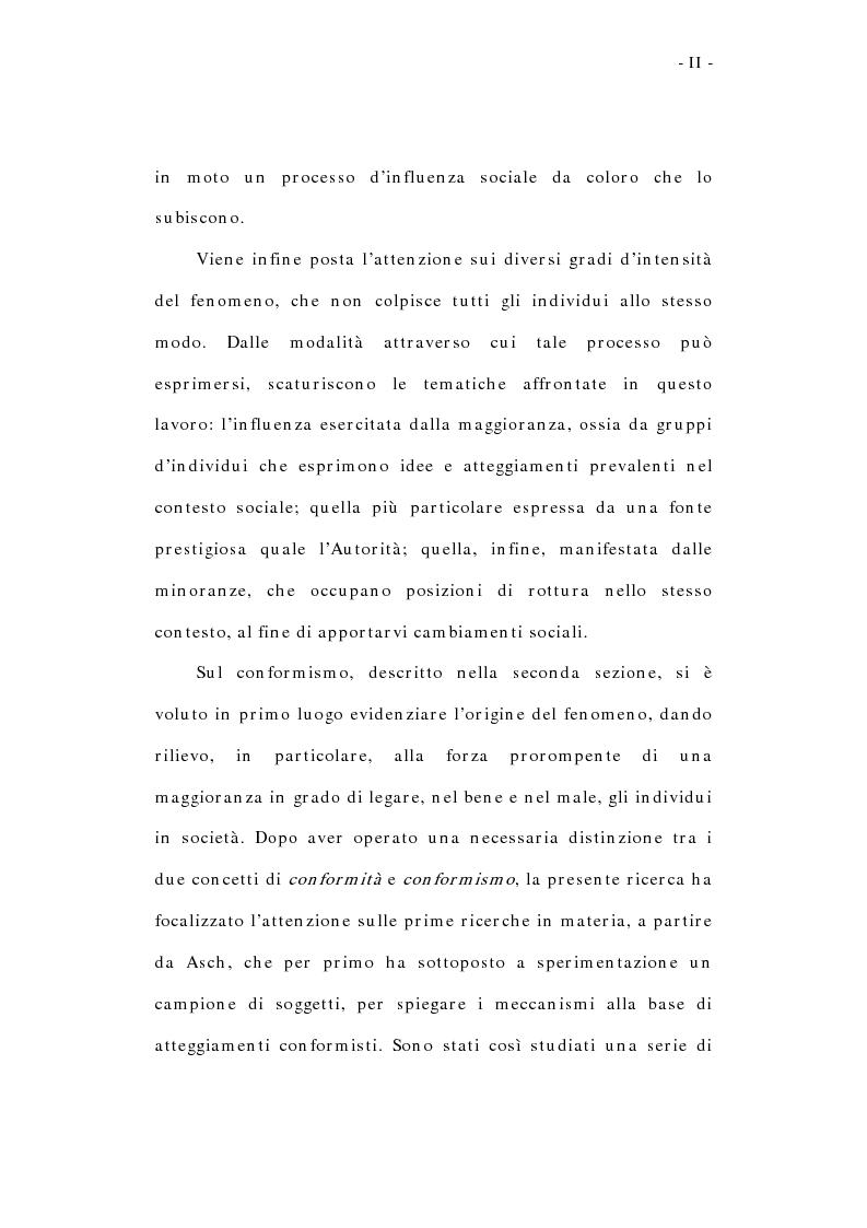 Anteprima della tesi: L'influenza sociale: conformismo, autorità e rottura del consenso, Pagina 2