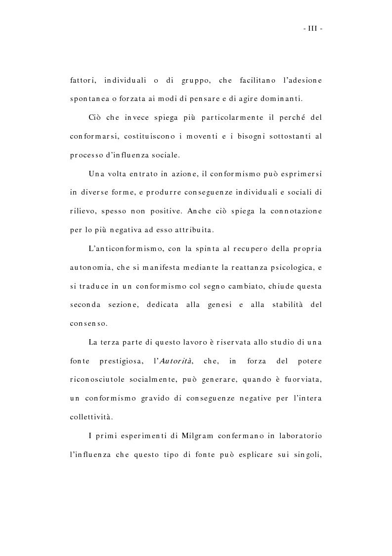 Anteprima della tesi: L'influenza sociale: conformismo, autorità e rottura del consenso, Pagina 3