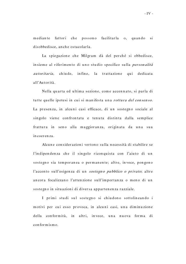 Anteprima della tesi: L'influenza sociale: conformismo, autorità e rottura del consenso, Pagina 4