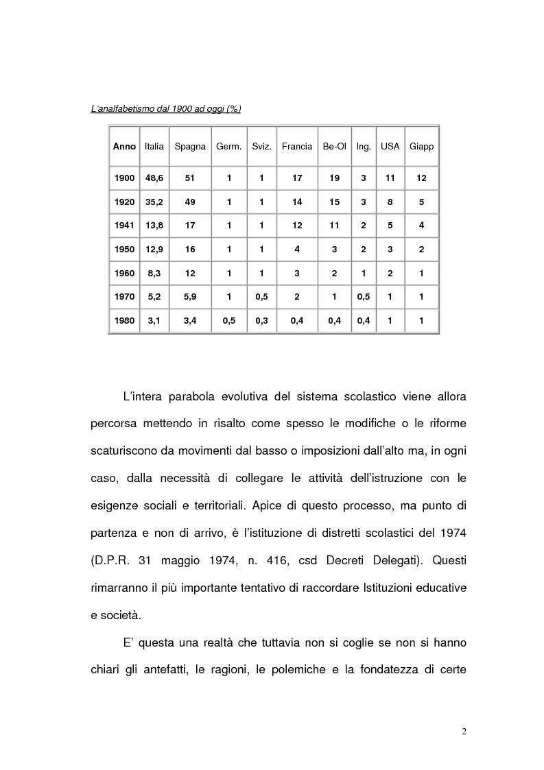 Anteprima della tesi: Scuola, territorio e distretti scolastici, Pagina 2