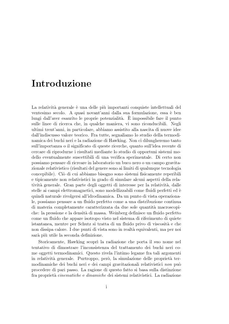 Anteprima della tesi: Analogie idrodinamiche nella fisica dei buchi neri, Pagina 1