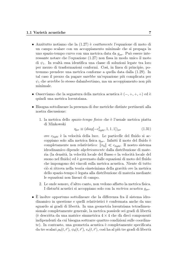 Anteprima della tesi: Analogie idrodinamiche nella fisica dei buchi neri, Pagina 10
