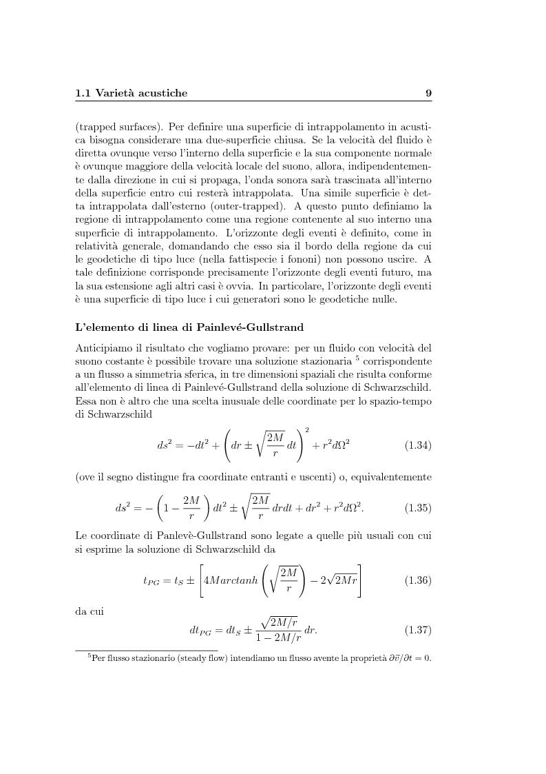 Anteprima della tesi: Analogie idrodinamiche nella fisica dei buchi neri, Pagina 12