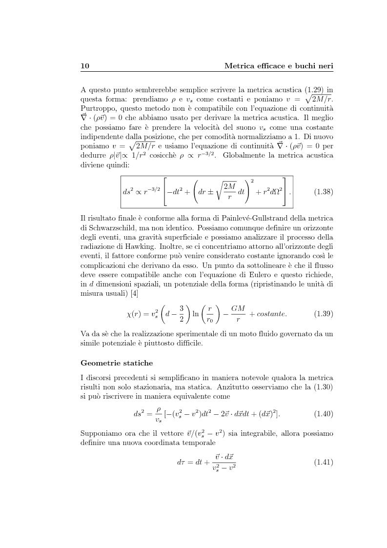 Anteprima della tesi: Analogie idrodinamiche nella fisica dei buchi neri, Pagina 13
