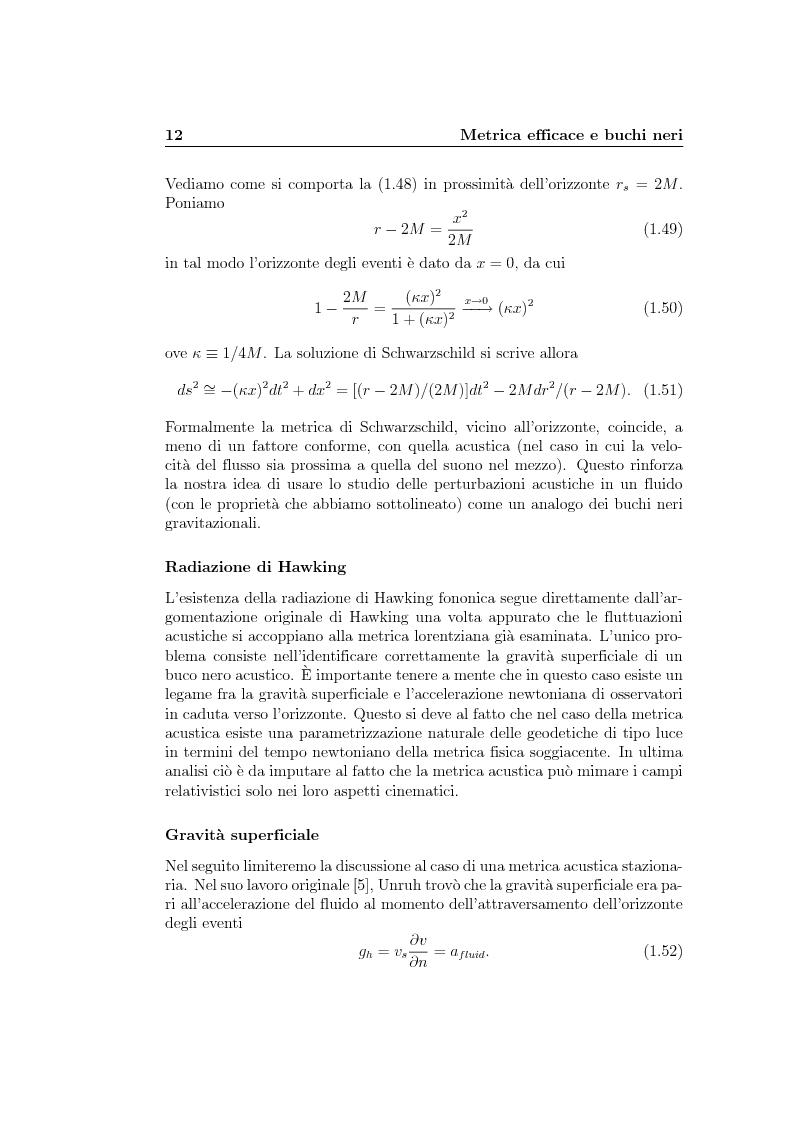 Anteprima della tesi: Analogie idrodinamiche nella fisica dei buchi neri, Pagina 15