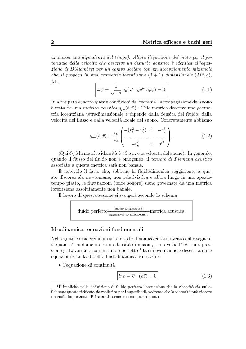 Anteprima della tesi: Analogie idrodinamiche nella fisica dei buchi neri, Pagina 5