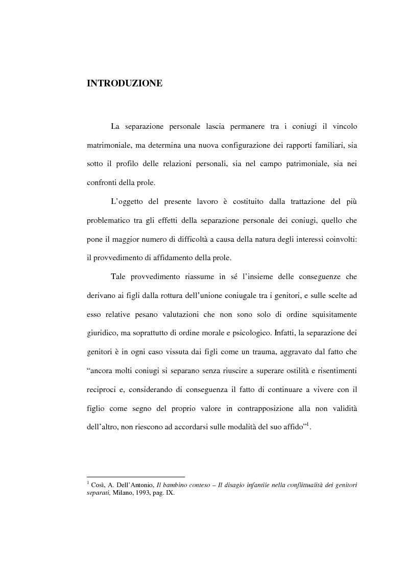 Anteprima della tesi: L'affidamento della prole nella separazione giudiziale dei coniugi, Pagina 1