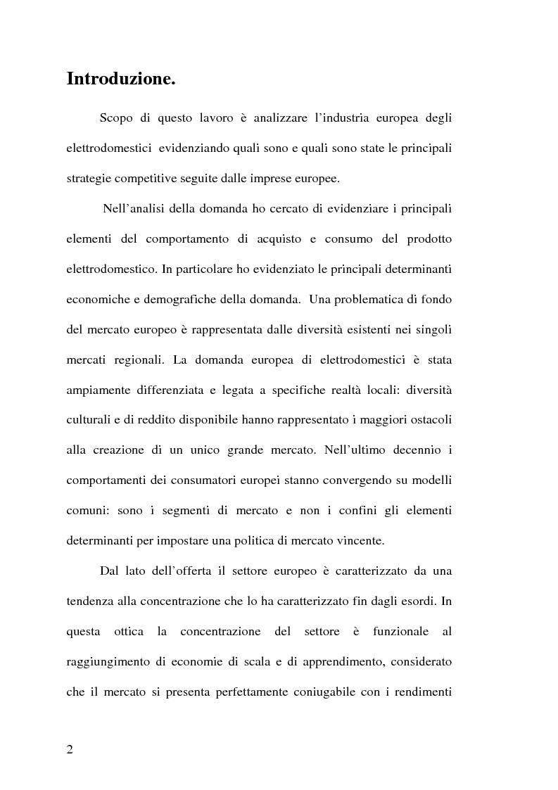 Anteprima della tesi: Strategie competitive nell'industria europea degli elettrodomestici bianchi, Pagina 1