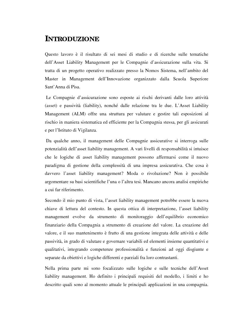 Anteprima della tesi: Asset liability management per le compagnie di assicurazione sulla vita. Un caso operativo, Pagina 1