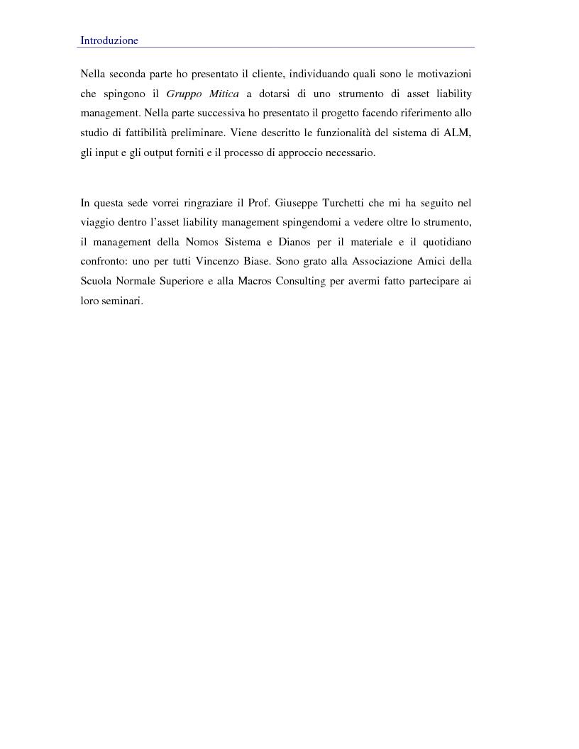 Anteprima della tesi: Asset liability management per le compagnie di assicurazione sulla vita. Un caso operativo, Pagina 2