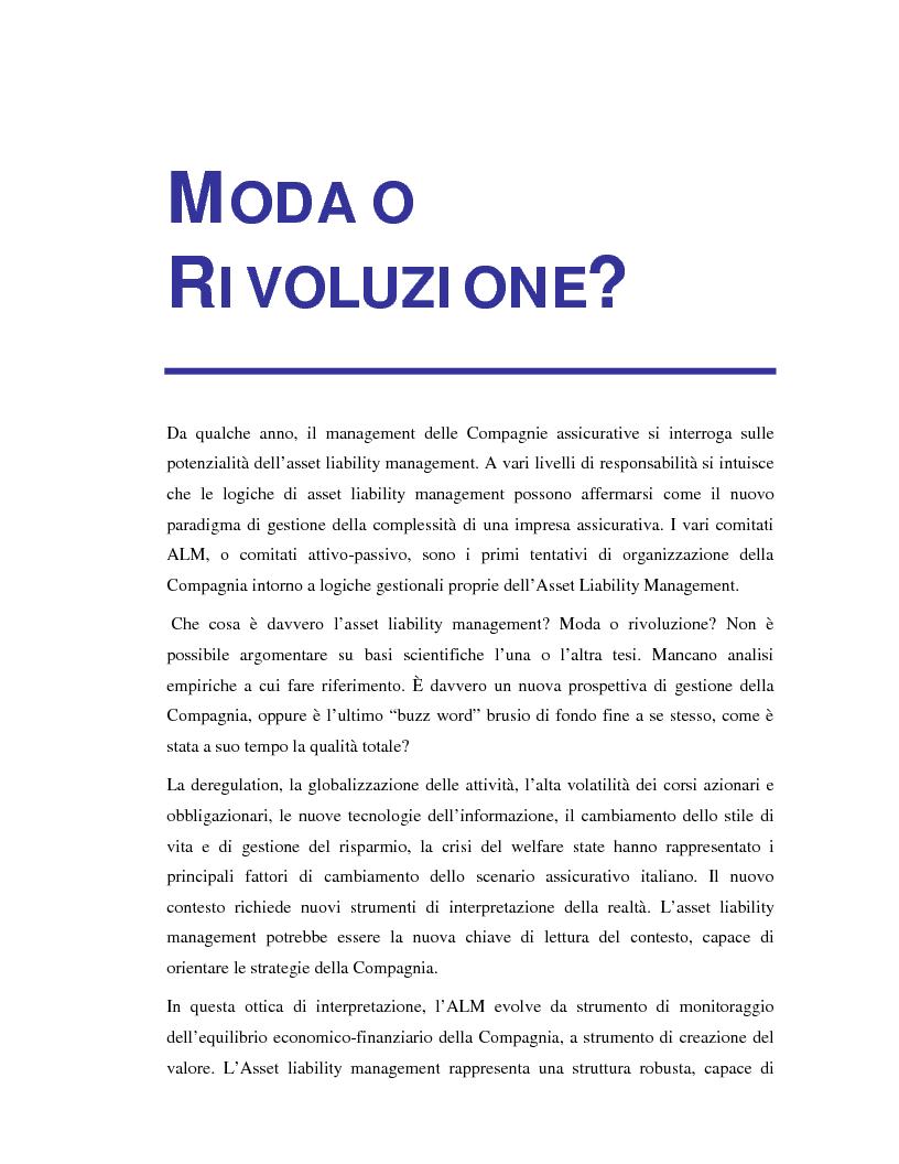 Anteprima della tesi: Asset liability management per le compagnie di assicurazione sulla vita. Un caso operativo, Pagina 3