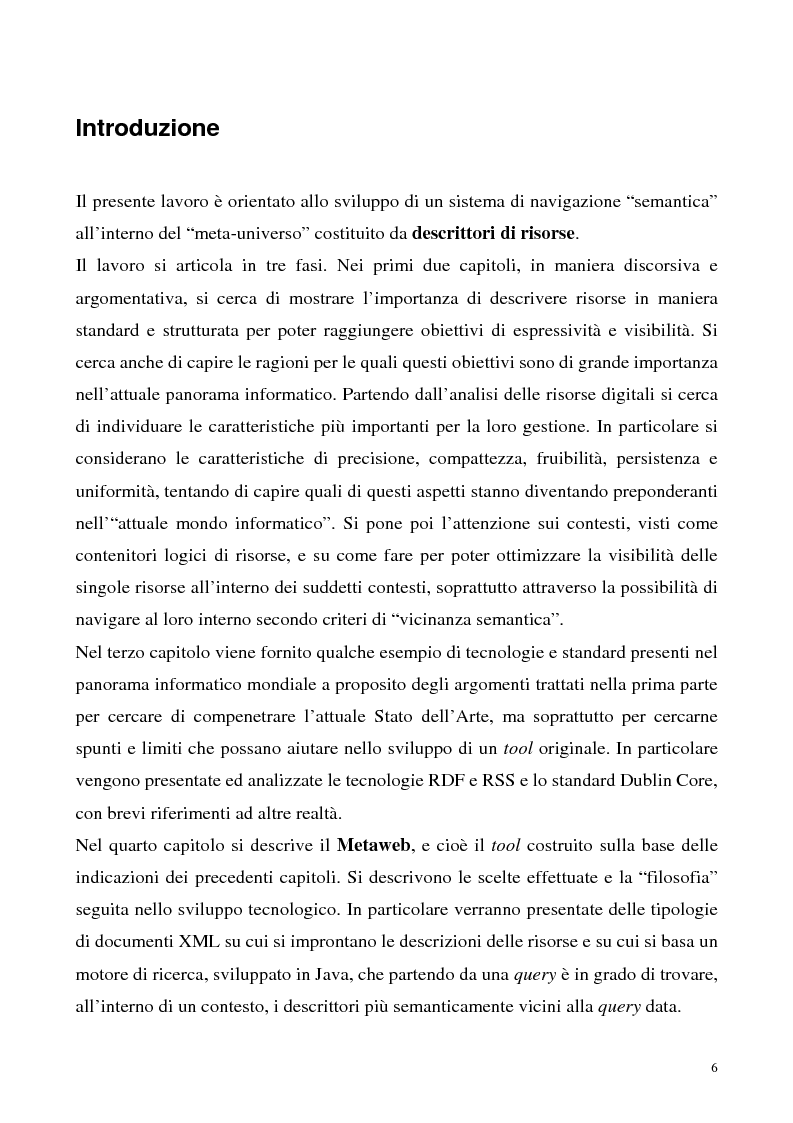 Metaweb: Motore di ricerca e navigazione ''semantica'' nel meta-universo delle descrizioni delle risorse - Definizione d...
