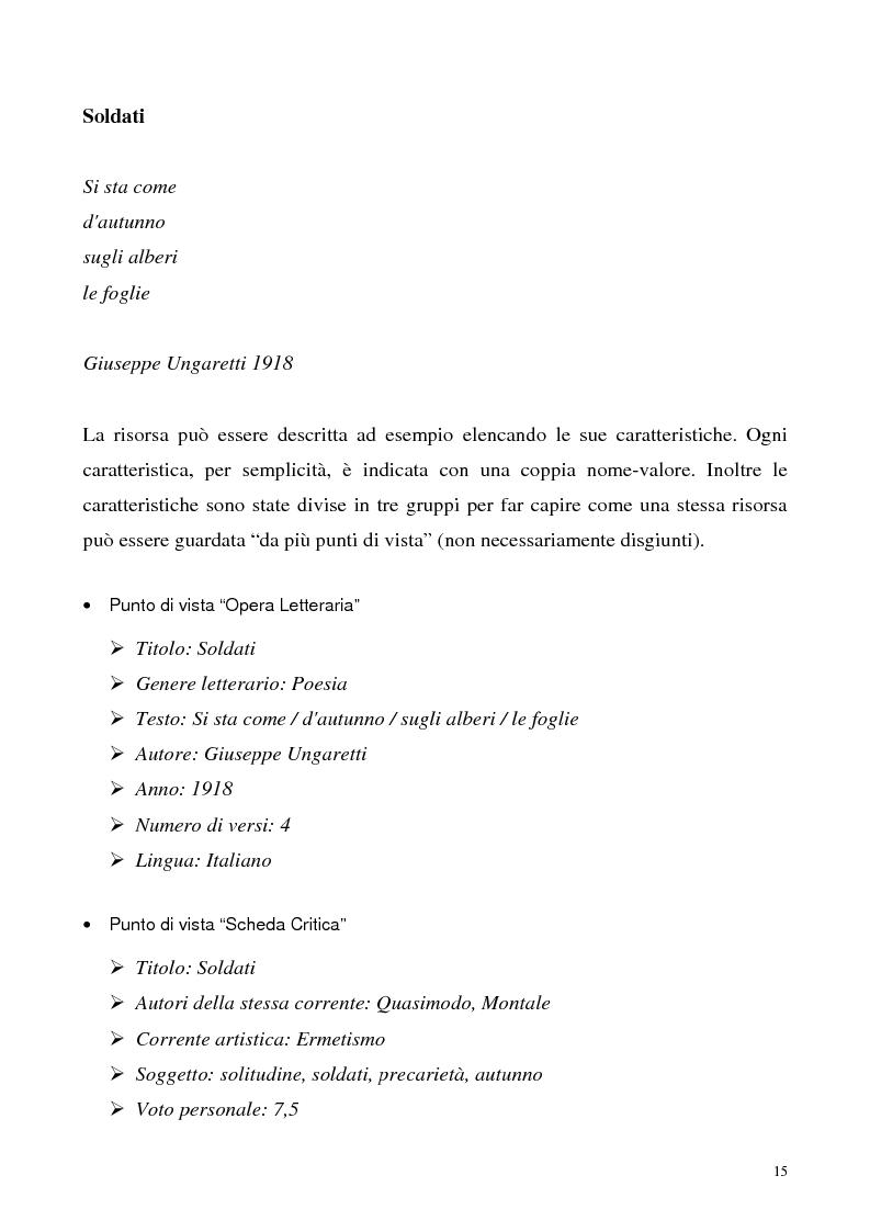Anteprima della tesi: Metaweb: Motore di ricerca e navigazione ''semantica'' nel meta-universo delle descrizioni delle risorse - Definizione del modello formale e implementazione di un prototipo in Java e XML, Pagina 10