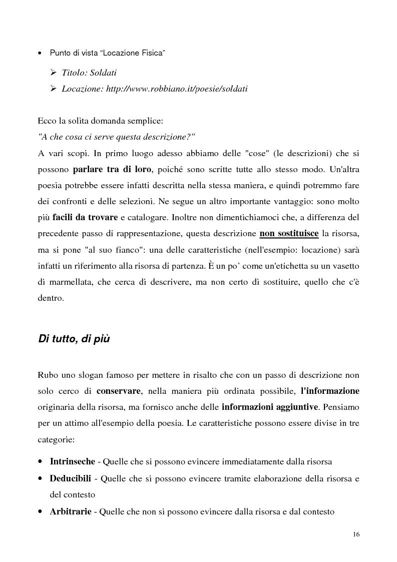 Anteprima della tesi: Metaweb: Motore di ricerca e navigazione ''semantica'' nel meta-universo delle descrizioni delle risorse - Definizione del modello formale e implementazione di un prototipo in Java e XML, Pagina 11