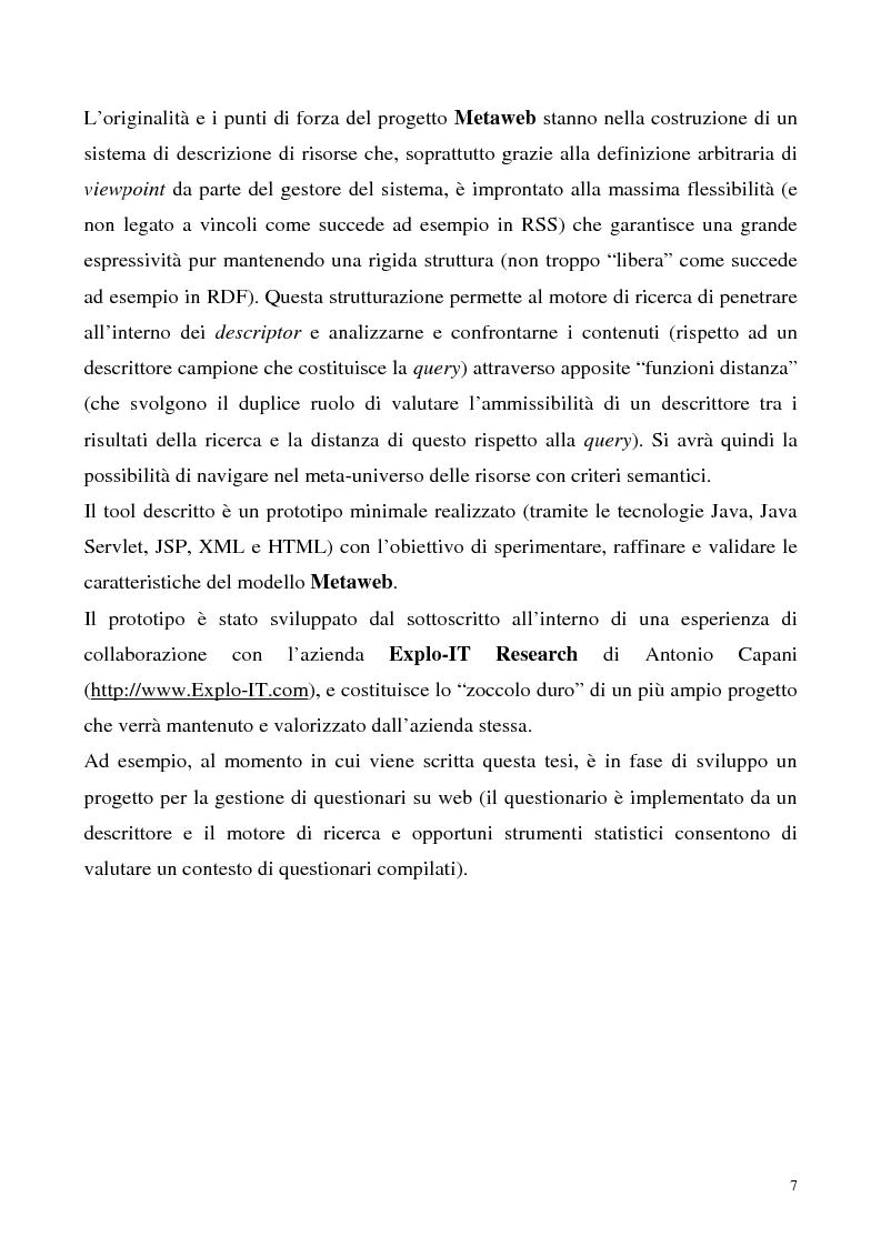 Anteprima della tesi: Metaweb: Motore di ricerca e navigazione ''semantica'' nel meta-universo delle descrizioni delle risorse - Definizione del modello formale e implementazione di un prototipo in Java e XML, Pagina 2