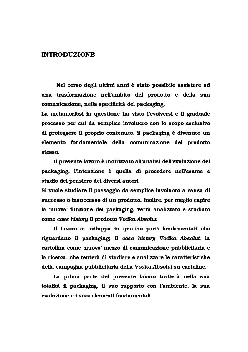 Anteprima della tesi: La pubblicità del packaging: il caso della Vodka Absolut, Pagina 1