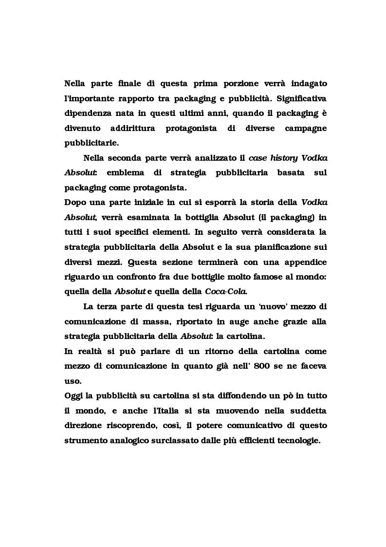 Anteprima della tesi: La pubblicità del packaging: il caso della Vodka Absolut, Pagina 2