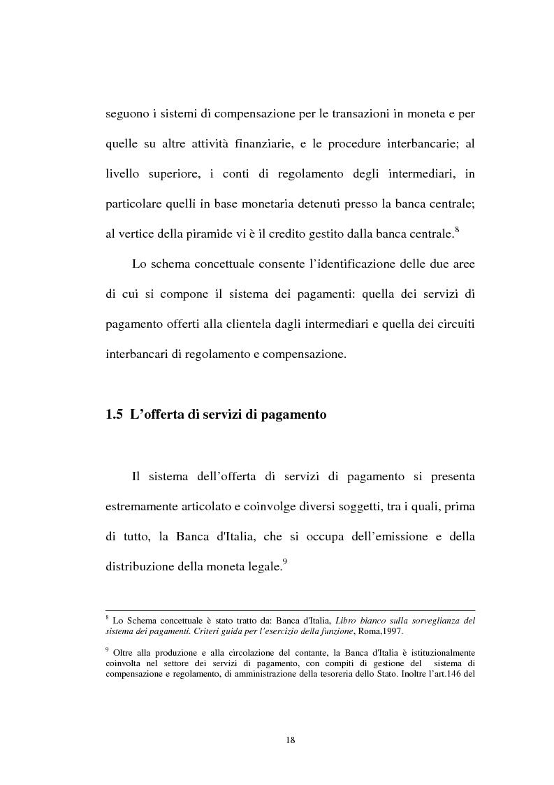 Anteprima della tesi: L'integrazione tra il sistema bancario e il sistema postale nell'offerta di servizi di pagamento, Pagina 13