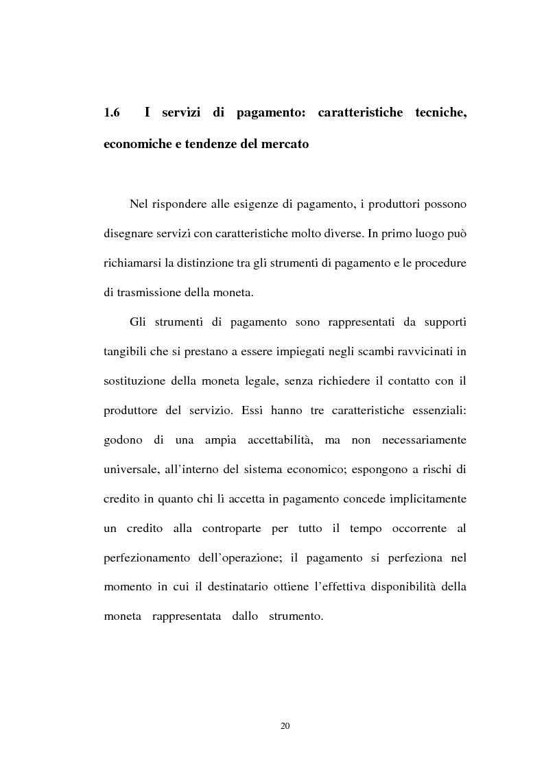Anteprima della tesi: L'integrazione tra il sistema bancario e il sistema postale nell'offerta di servizi di pagamento, Pagina 15