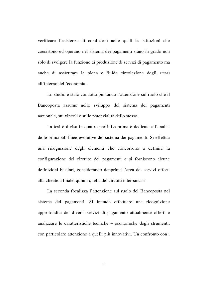 Anteprima della tesi: L'integrazione tra il sistema bancario e il sistema postale nell'offerta di servizi di pagamento, Pagina 2