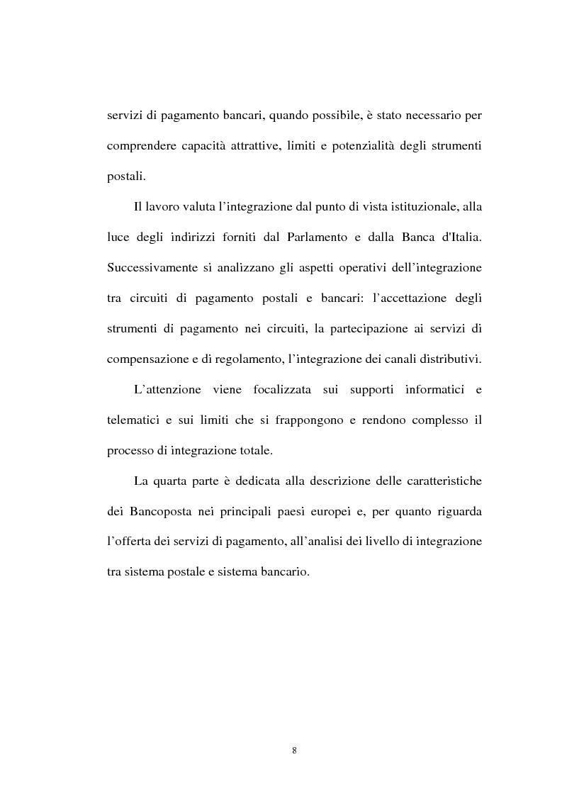 Anteprima della tesi: L'integrazione tra il sistema bancario e il sistema postale nell'offerta di servizi di pagamento, Pagina 3