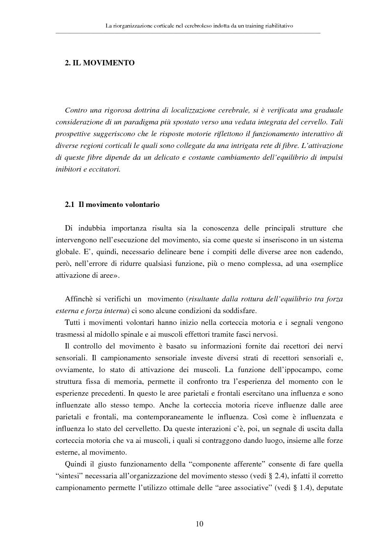 Anteprima della tesi: La riorganizzazione corticale nel cerebroleso indotta da un training riabilitativo, Pagina 14