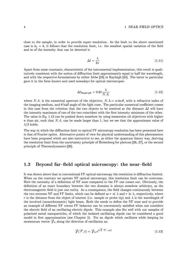 Anteprima della tesi: Near-Field Optics of Localized Surface Plasmons, Pagina 6