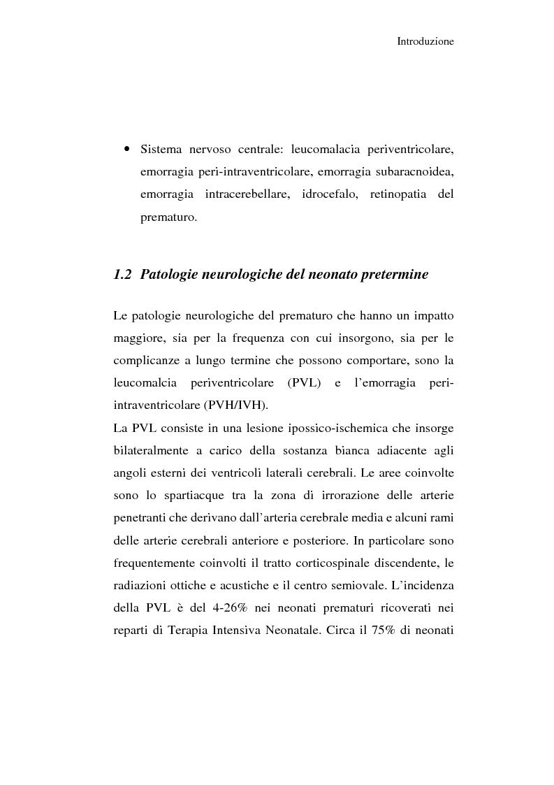 Anteprima della tesi: Diagnosi e prognosi nel neonato pretermine con iperecogenicità patologica all'ecografia cerebrale: studio della motilità spontanea con videoregistrazioni, Pagina 7