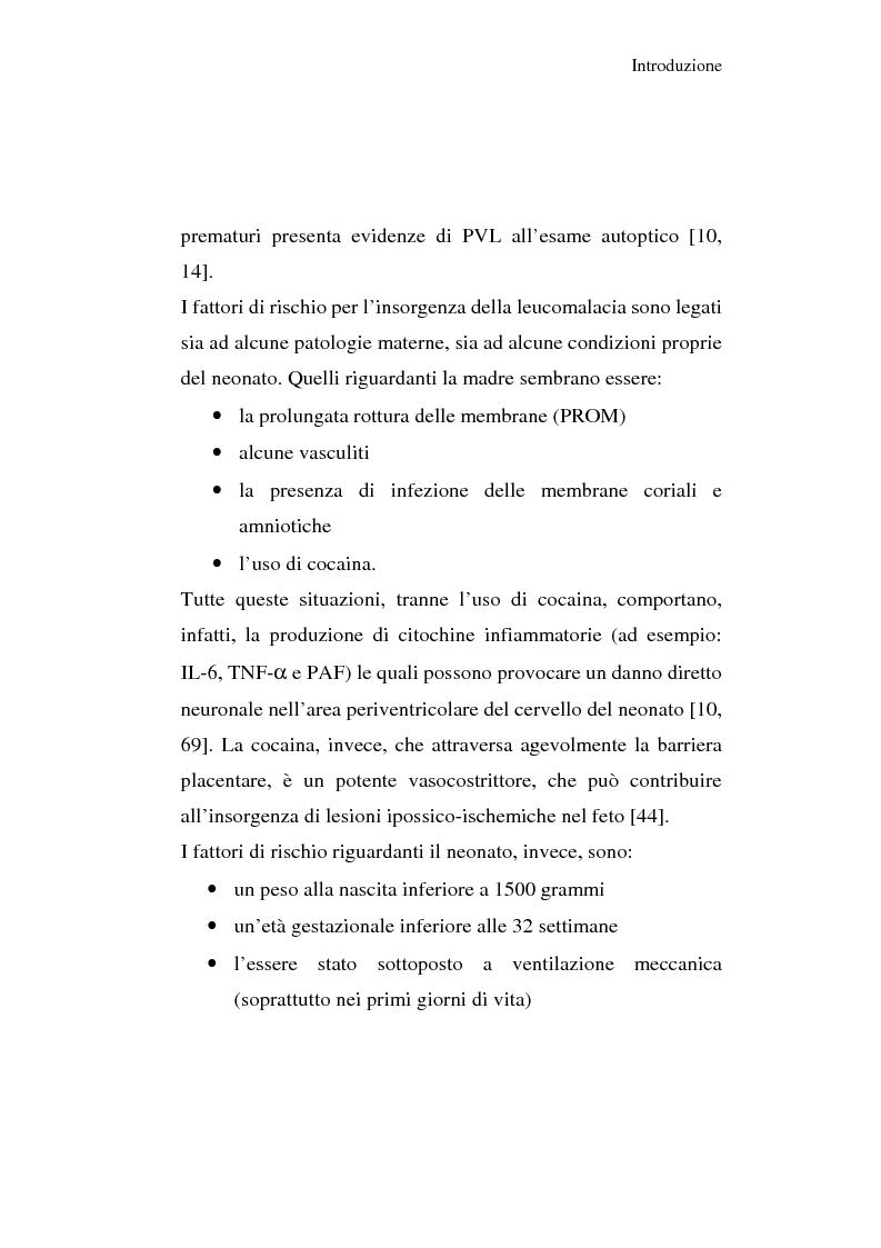 Anteprima della tesi: Diagnosi e prognosi nel neonato pretermine con iperecogenicità patologica all'ecografia cerebrale: studio della motilità spontanea con videoregistrazioni, Pagina 8