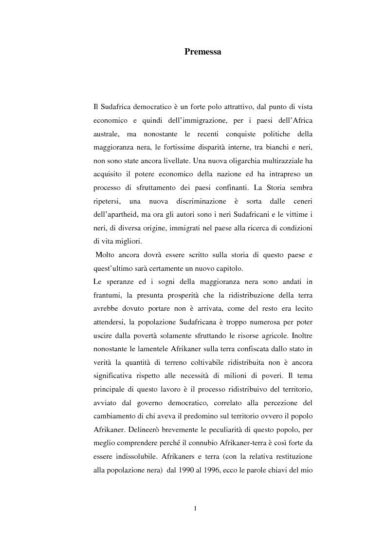 Anteprima della tesi: La questione della terra in Sudafrica 1990-1996: ridistribuzione della terra correlata alla percezione Afrikaner del fenomeno, Pagina 1