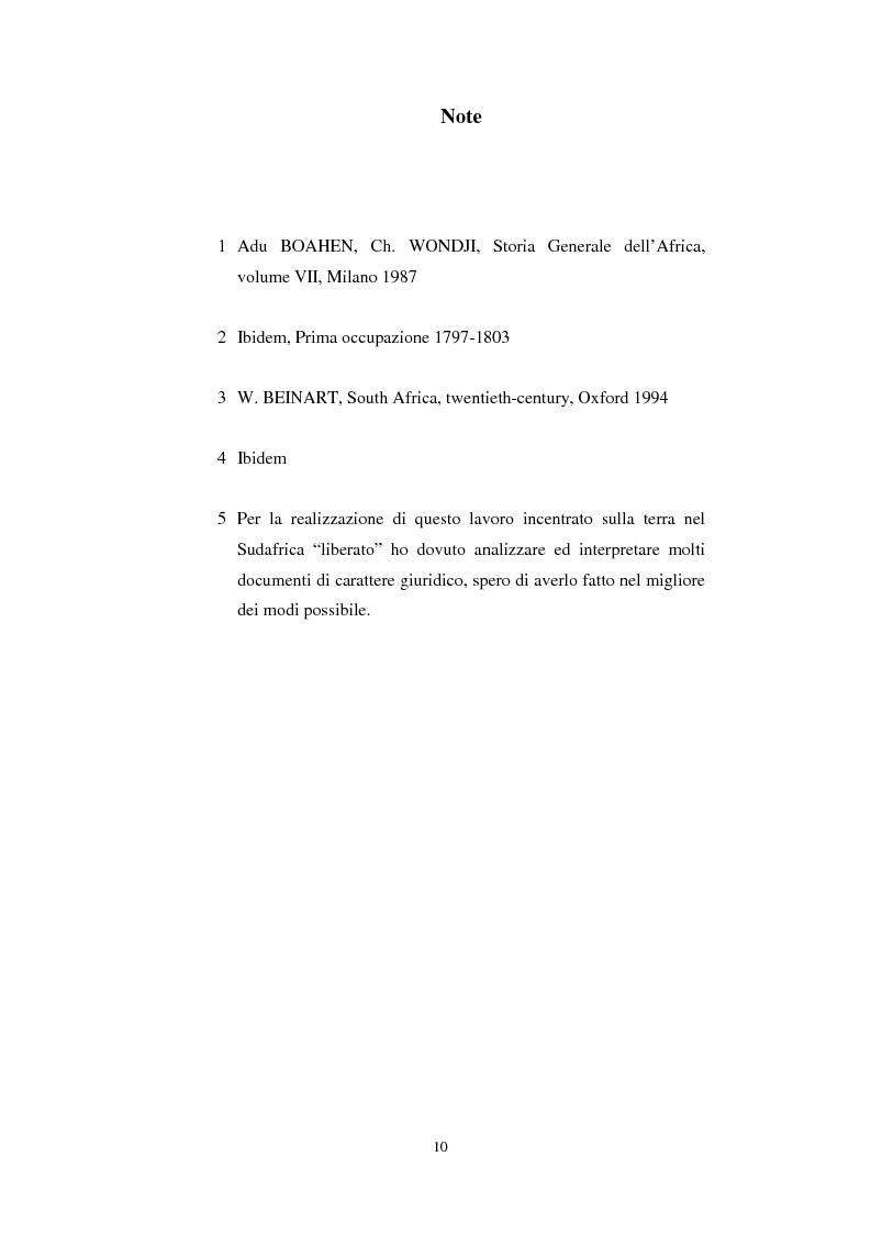 Anteprima della tesi: La questione della terra in Sudafrica 1990-1996: ridistribuzione della terra correlata alla percezione Afrikaner del fenomeno, Pagina 10