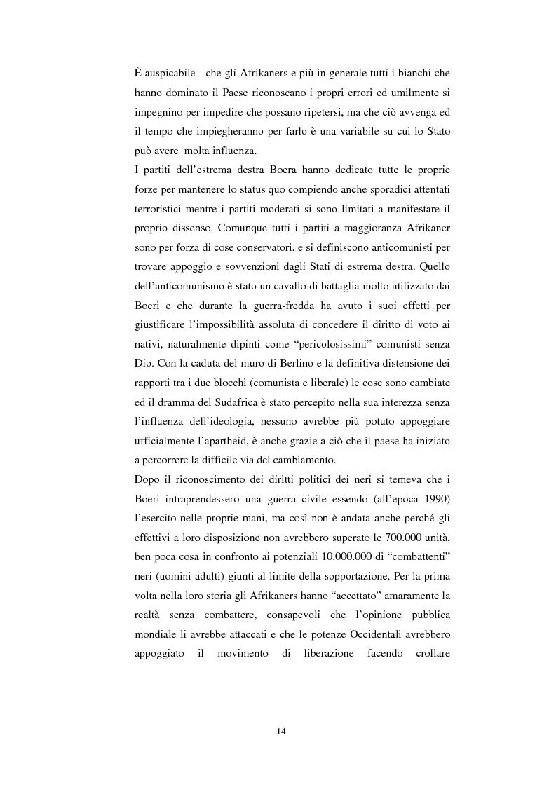 Anteprima della tesi: La questione della terra in Sudafrica 1990-1996: ridistribuzione della terra correlata alla percezione Afrikaner del fenomeno, Pagina 14