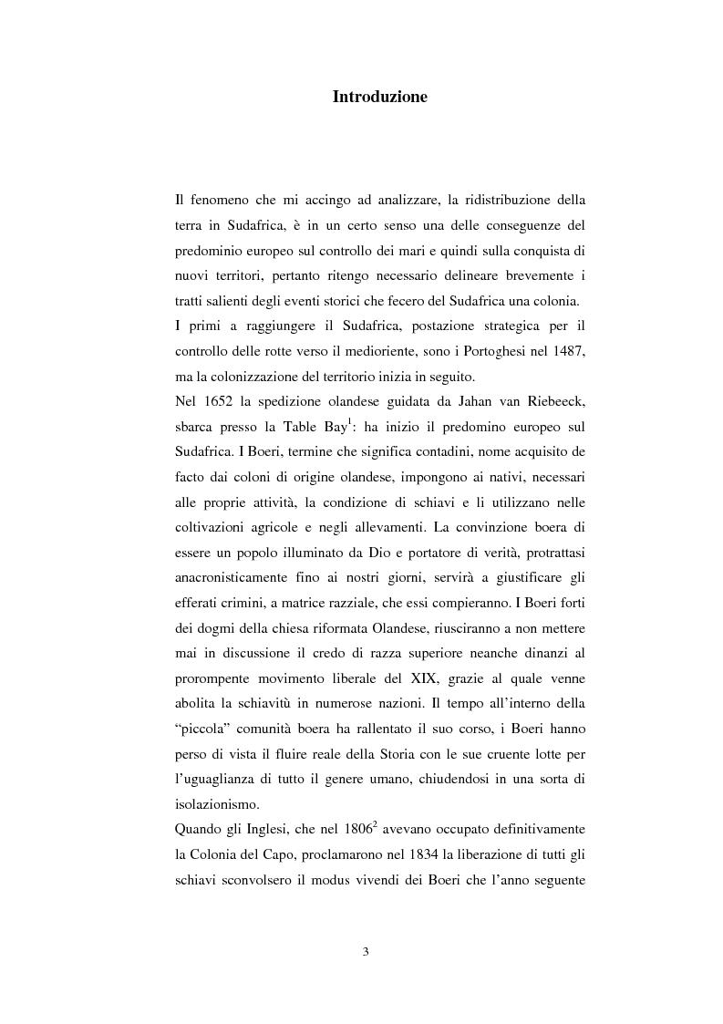 Anteprima della tesi: La questione della terra in Sudafrica 1990-1996: ridistribuzione della terra correlata alla percezione Afrikaner del fenomeno, Pagina 3