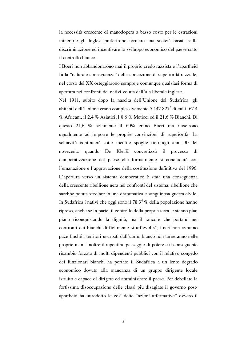 Anteprima della tesi: La questione della terra in Sudafrica 1990-1996: ridistribuzione della terra correlata alla percezione Afrikaner del fenomeno, Pagina 5