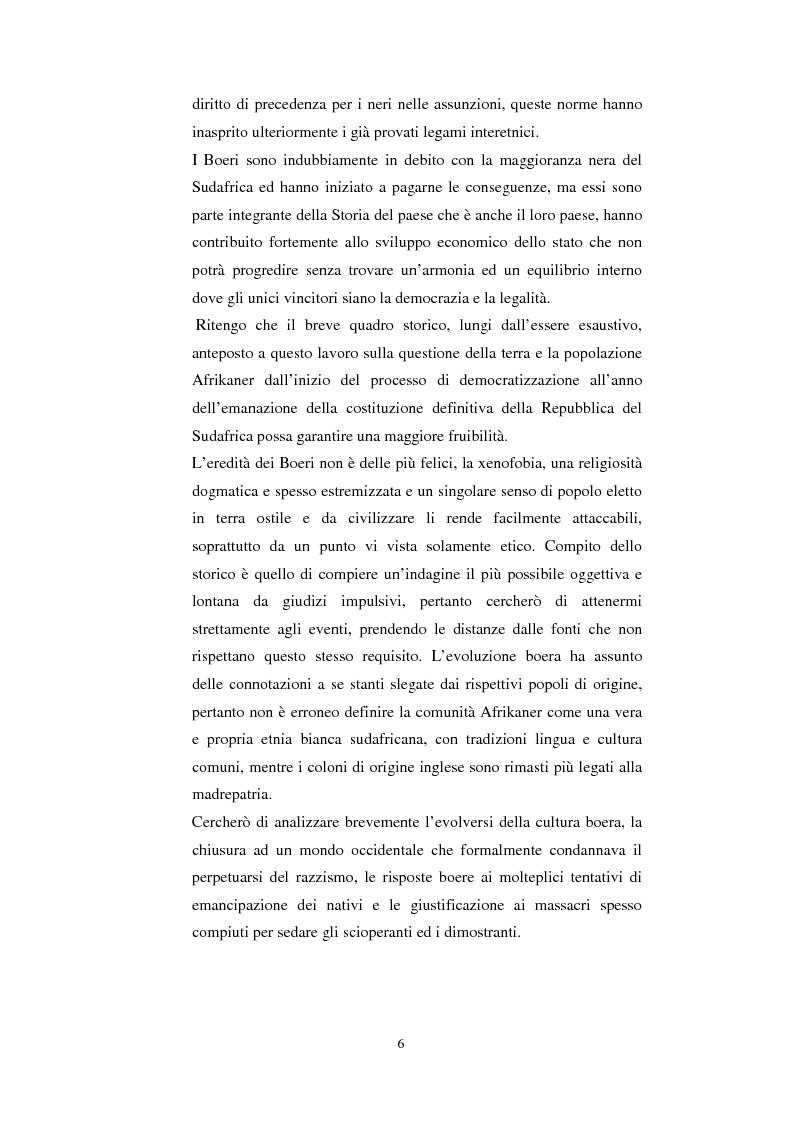Anteprima della tesi: La questione della terra in Sudafrica 1990-1996: ridistribuzione della terra correlata alla percezione Afrikaner del fenomeno, Pagina 6