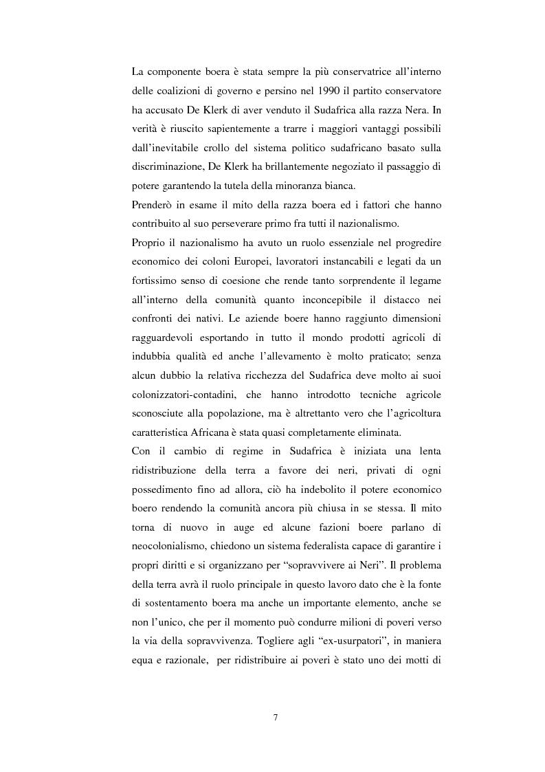 Anteprima della tesi: La questione della terra in Sudafrica 1990-1996: ridistribuzione della terra correlata alla percezione Afrikaner del fenomeno, Pagina 7