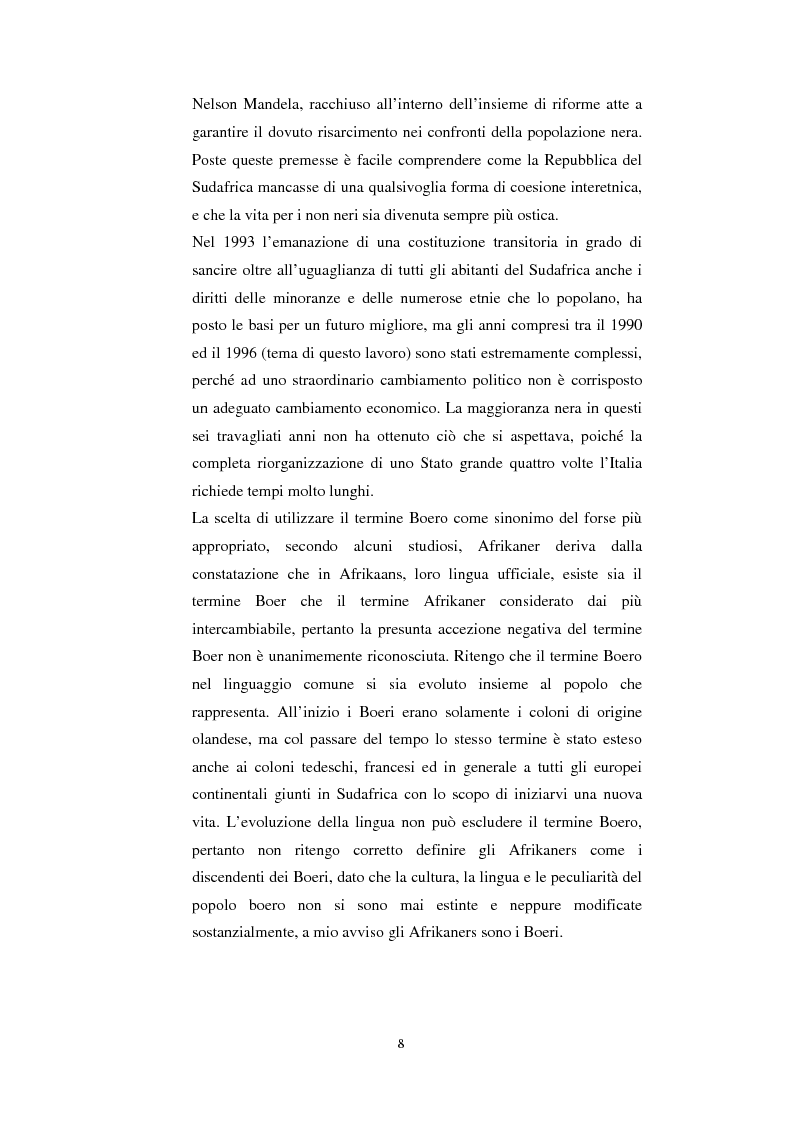 Anteprima della tesi: La questione della terra in Sudafrica 1990-1996: ridistribuzione della terra correlata alla percezione Afrikaner del fenomeno, Pagina 8
