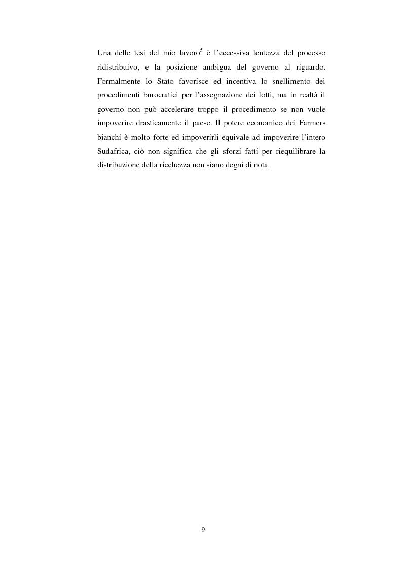 Anteprima della tesi: La questione della terra in Sudafrica 1990-1996: ridistribuzione della terra correlata alla percezione Afrikaner del fenomeno, Pagina 9