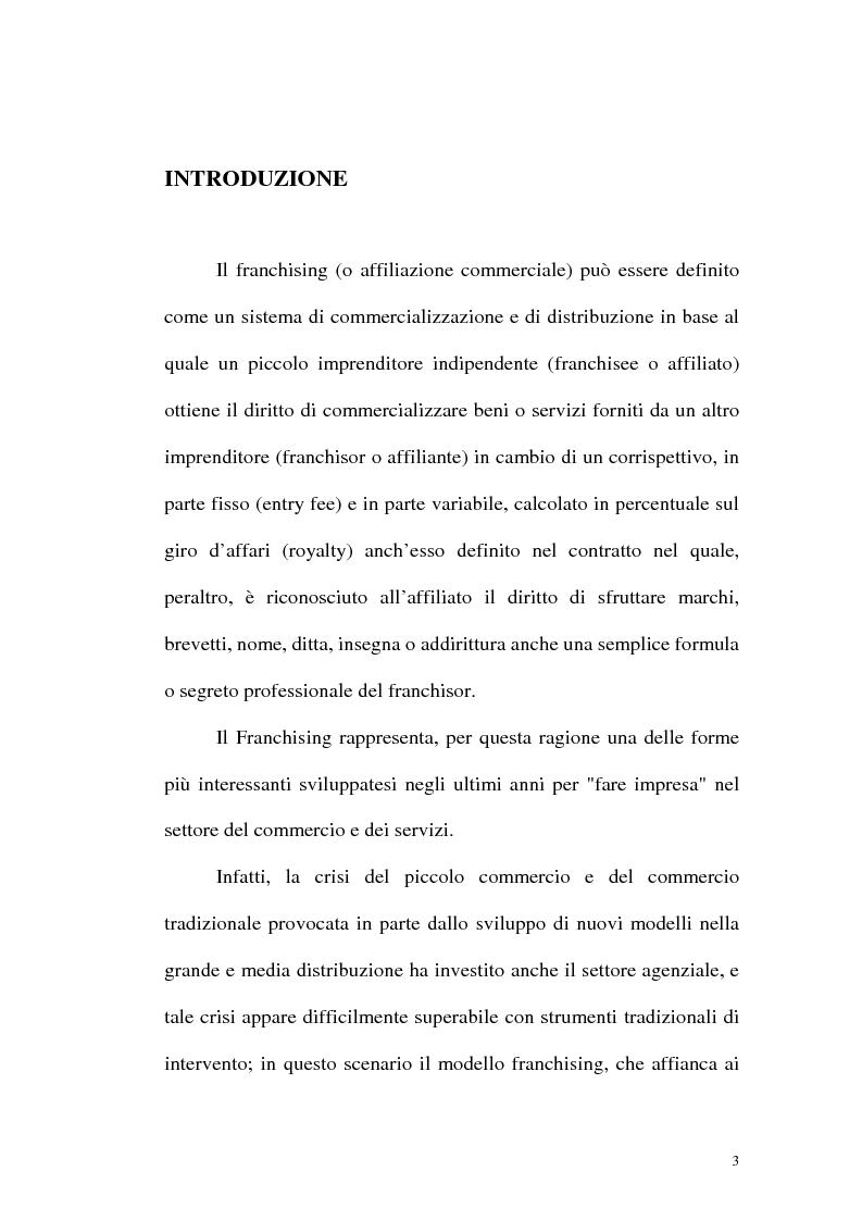 Anteprima della tesi: Franchising e agenzie di viaggio: analisi comparata delle proposte a tutela del franchisee, Pagina 1