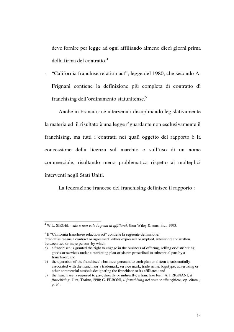Anteprima della tesi: Franchising e agenzie di viaggio: analisi comparata delle proposte a tutela del franchisee, Pagina 12