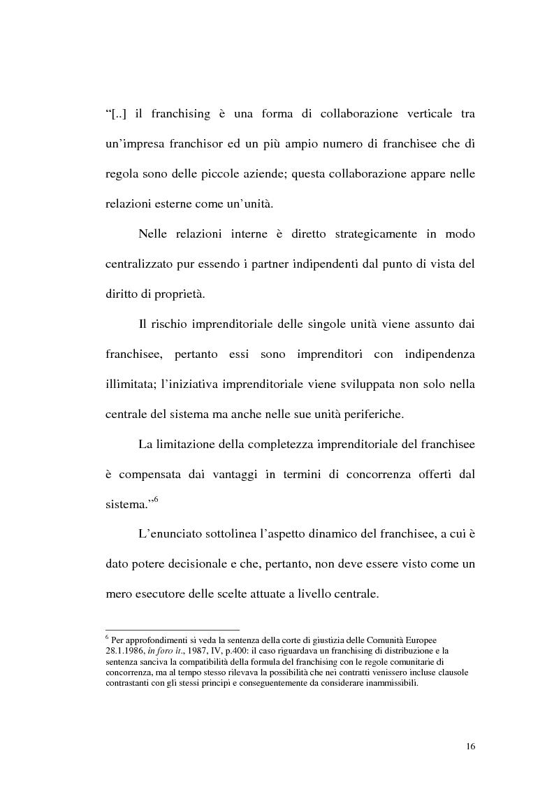 Anteprima della tesi: Franchising e agenzie di viaggio: analisi comparata delle proposte a tutela del franchisee, Pagina 14