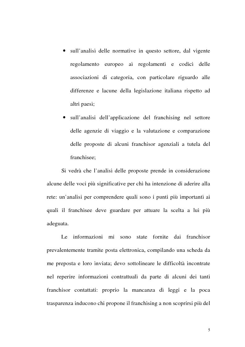 Anteprima della tesi: Franchising e agenzie di viaggio: analisi comparata delle proposte a tutela del franchisee, Pagina 3